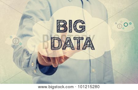 Young Man Pointing At Big Data