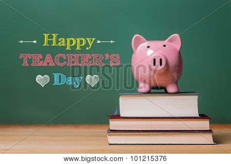 Happy Teachers Day Message With Pink Piggy Bank
