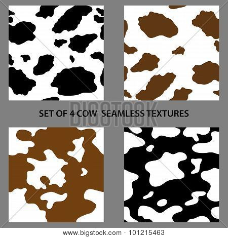 Set Of Four Cow Seamless Textures