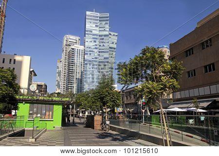 Beautiful Cityscape On Boulevard Rotschild In Tel Aviv, Israel.