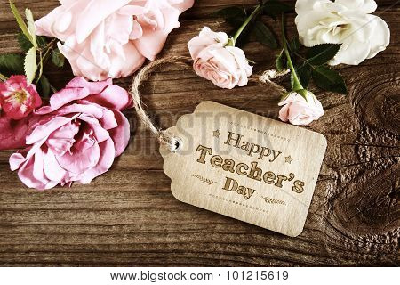 Happy Teachers Day Message Card With Small Roses