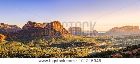 Courthouse Butte, Bell Rock and surrounding red rocks formations in Sedona, Arizona at sunset