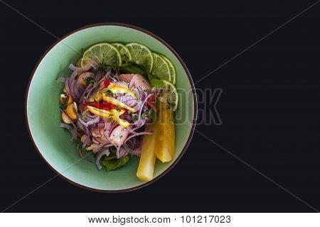 Salmon Peruvian Ceviche On Black Background