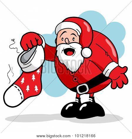Santa Claus and dirty Christmas stocking