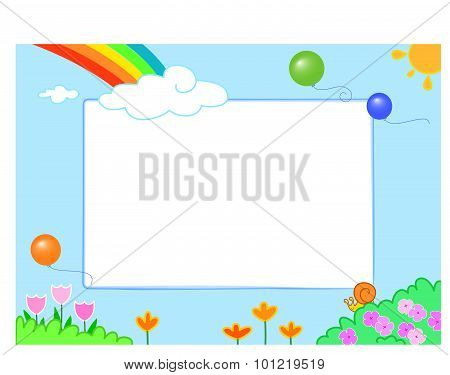 Rainbow with funny slug and flowers