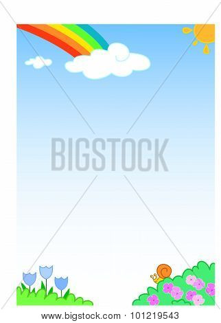 Rainbow background with funny slug and flowers