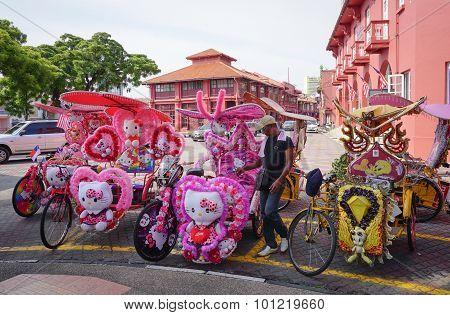 Decorative Trishaw At Malacca