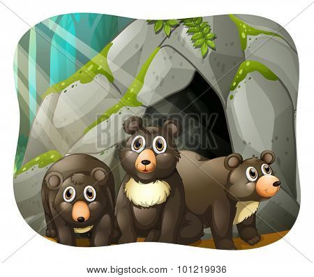 Grizzly bears living in the cave illustration
