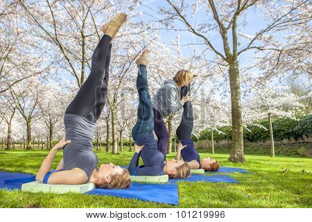 Yoga instructor helping young women with shoulder stand (salamba sarvangasana) in a blooming spring park