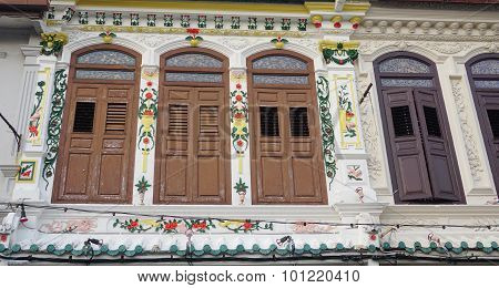 Colonial Old Building Facade  In Singapore
