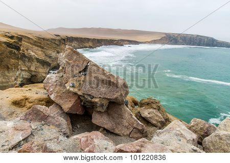 Beach of Ballestas Islands, Peru