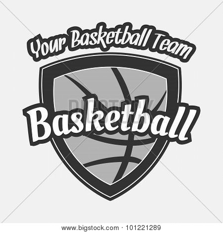 Black and white Basketball Label with Ball