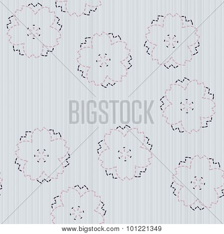 Spring japanese needlework. Sashiko with sakura flowers. Seamless pattern.