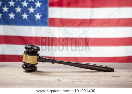 Gavel on Wooden tables, USA flag