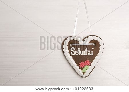 Bavarian ´darling´ Gingerbread Heart For Oktoberfest Background