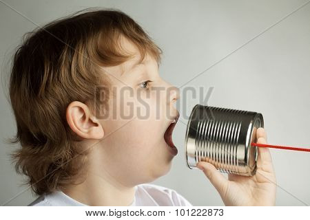 beauty boy listen tin can telephone