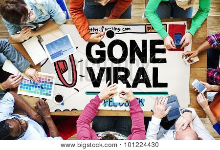 Gone Viral Popular Famous Share Post Concept