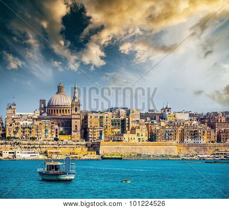 scenic View of Marsamxett Harbour and Valletta in Malta at sunset