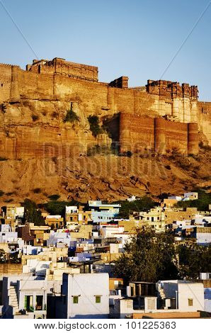 Mehrangarh Fort Jodphur India Cityscape Tranquil Concept