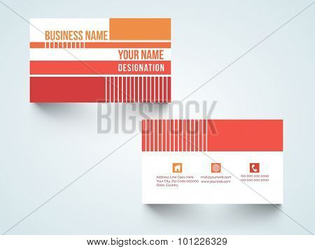 Professional horizontal business card, name card or visiting card set for your company, profession and organization.