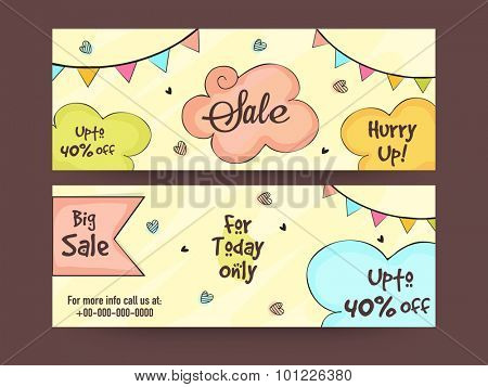 Colorful creative Sale website header or banner set with discount offer for limited time.