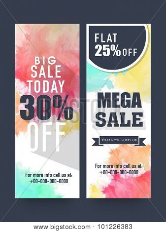 Creative Mega Sale website banners set with flat discount offer for limited time.