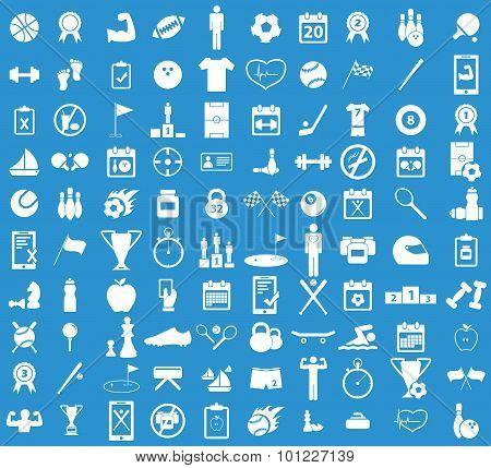 Sport icon set, blue
