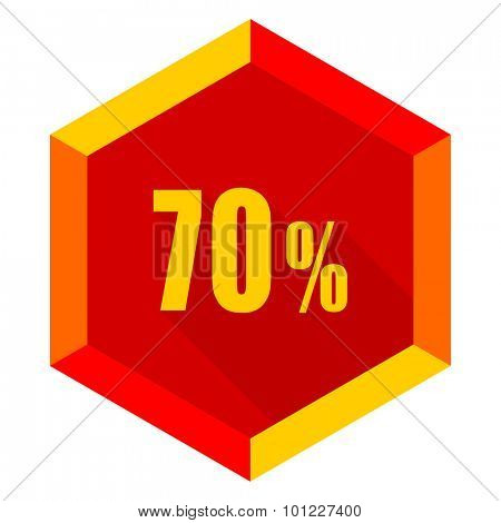 70 percent flat design modern icon with long shadow for web and mobile app