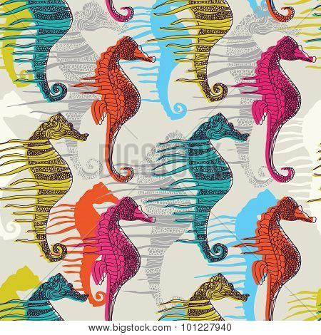 vector pattern with sea-horses