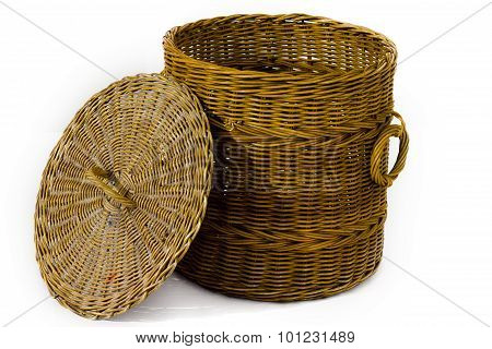 The Rattan Bin On Isolated White