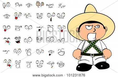 angry mexican kid cartoon expressions set