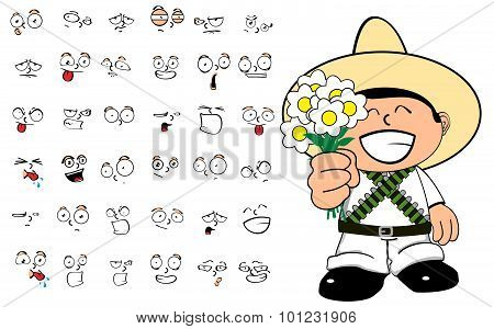flowers mexican kid cartoon expressions set