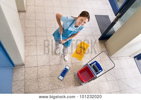 Janitor Holding Mop With Cleaning Equipments And Wet Floor Sign