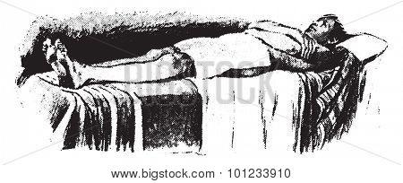 Hot hip pack, blankets in position, vintage engraved illustration.