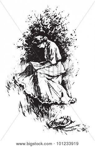 Sit in the sun, vintage engraved illustration.