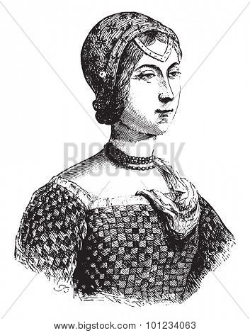 Portrait implies Laure Noves, called the beautiful Laure, vintage engraved illustration.