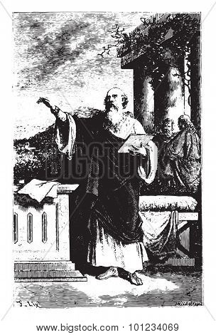 Saint Irenaeus, one of the first apostles of Gaul, vintage engraved illustration.
