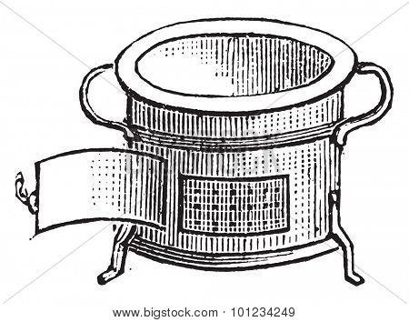 Furnace for lunch, vintage engraved illustration.
