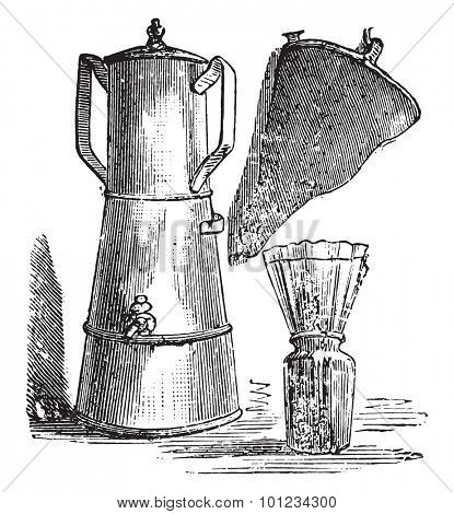 Filter coffee; filter paper placed on a jar ordinary shoes, vintage engraved illustration.