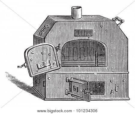 Portable oven, vintage engraved illustration.