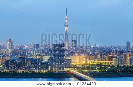 Tokyo city view with Tokyo sky tree and river in evening