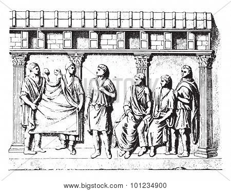 Taking manly toga (for after an engraved antique stone), vintage engraved illustration.