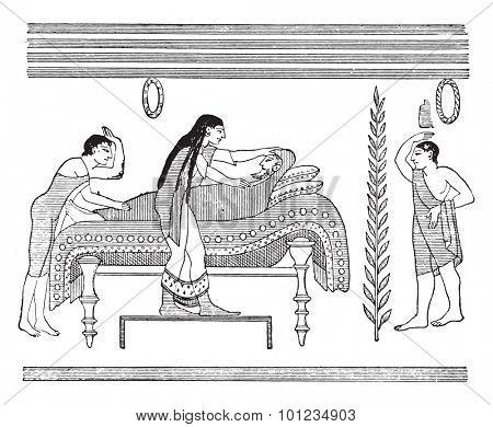 The burial, vintage engraved illustration.
