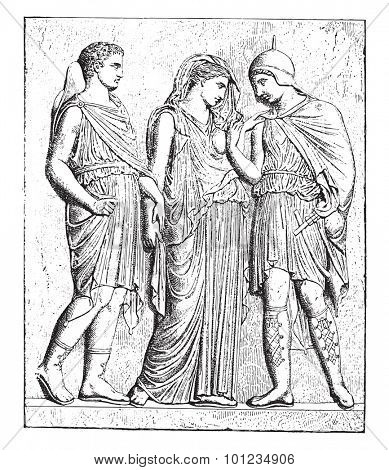 Antiope and his son (bas-relief in the Louvre), vintage engraved illustration.