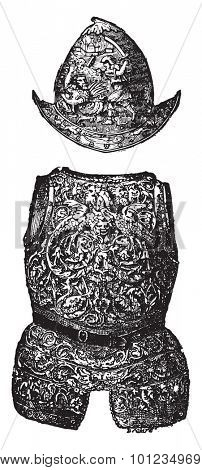 Morion and armor of the sixteenth century, vintage engraved illustration. Industrial encyclopedia E.-O. Lami - 1875.