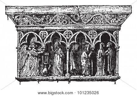 Ornamental details cloister Elne, Pyrenees-Orientales, vintage engraved illustration. Industrial encyclopedia E.-O. Lami - 1875.
