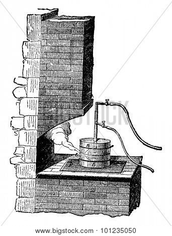 Crucible, Gas tube, Hydrogen and oxygen tube, vintage engraved illustration. Industrial encyclopedia E.-O. Lami - 1875.