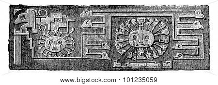 Another detail of the Tiahuanaco monolith door, vintage engraved illustration. Industrial encyclopedia E.-O. Lami - 1875.