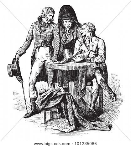 Men suit in 1798, vintage engraved illustration. Industrial encyclopedia E.-O. Lami - 1875.