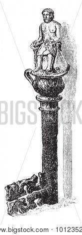 Antique key discovery around Tarare, vintage engraved illustration. Industrial encyclopedia E.-O. Lami - 1875.